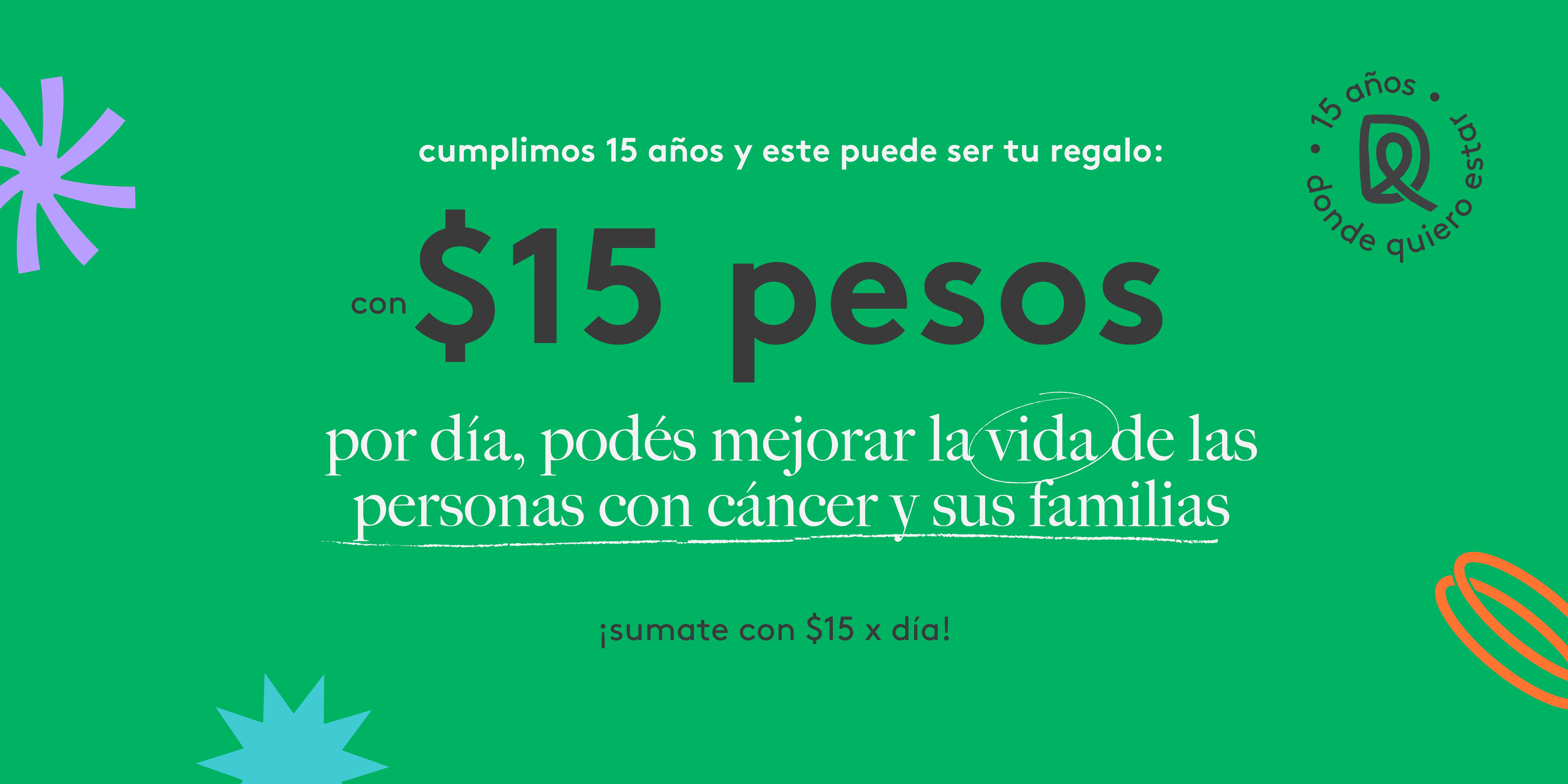 15 pesos por dia